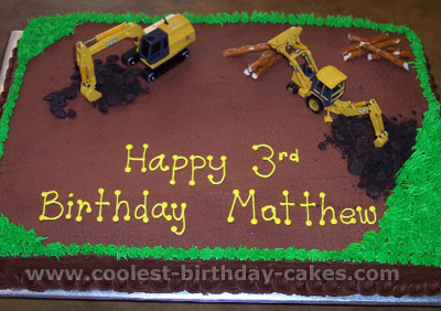 Admirable Coolest Homemade Construction Scene Cakes Personalised Birthday Cards Veneteletsinfo