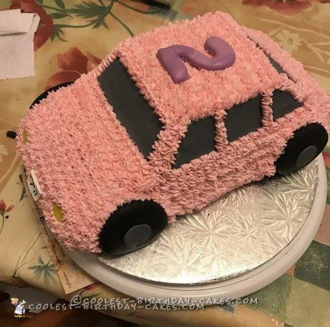 Cute pink car cake for a 2 year old girl for F1 car cake template