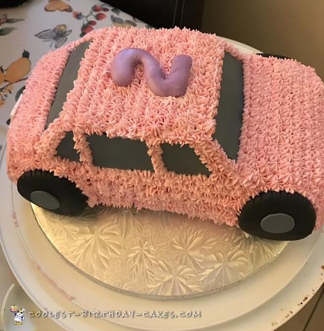 Awesome Cute Pink Car Cake For A 2 Year Old Girl Funny Birthday Cards Online Fluifree Goldxyz