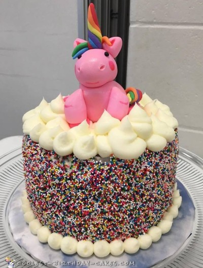 Adorable Pink Unicorn Sprinkle Cake