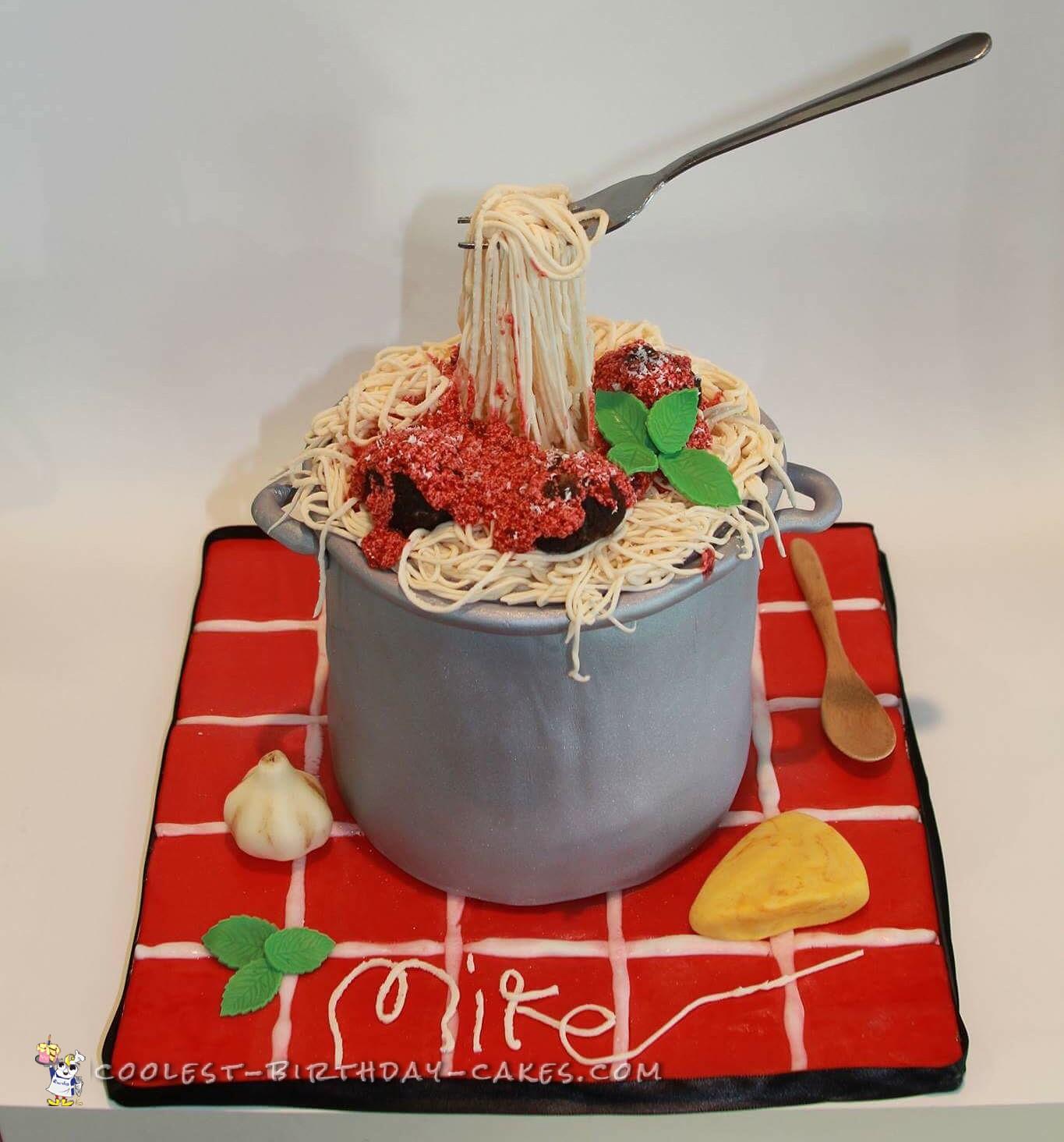 Awesome Spaghetti And Meatballs Italian Themed Cake