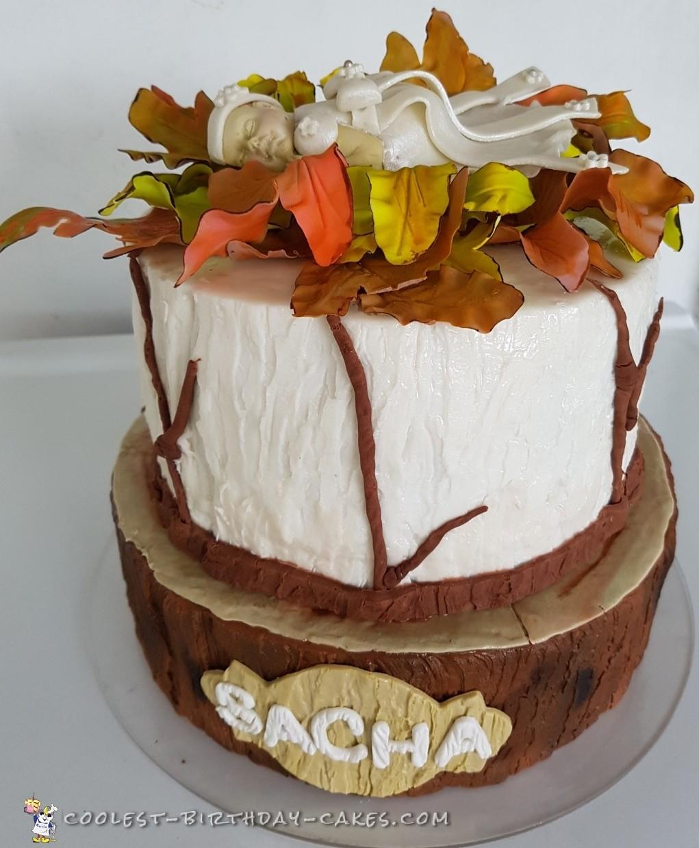 Coolest Rustic theme Baptismal Cake