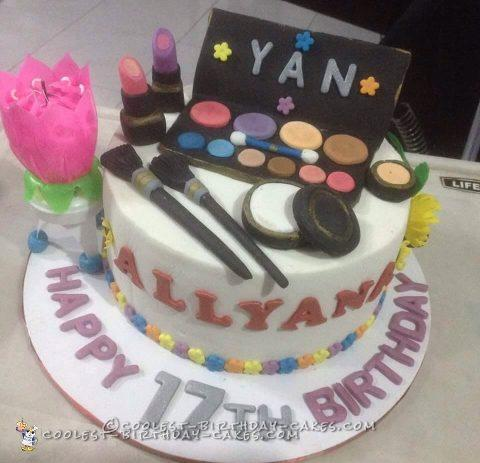 Coolest Homemade Make Up Themed Cake