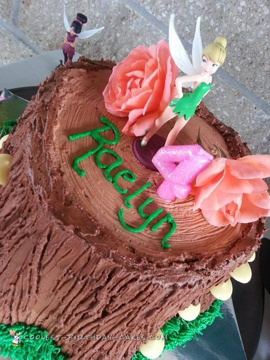 Awesome Tree Stump Tinkerbell Birthday Cake Idea