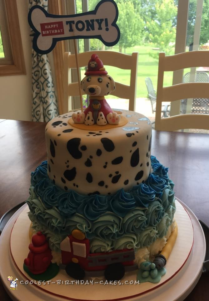 Awesome Homemade 2 Tiered Dalmatian Fire Truck Cake