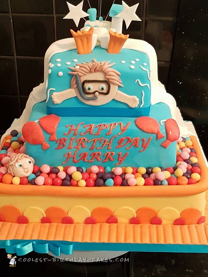half and half birthday christening cake