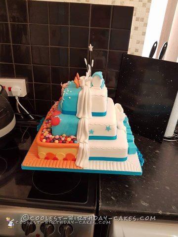 Half n half birthday christening cake