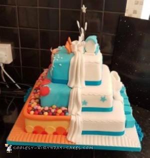 half and half christening birthday cake