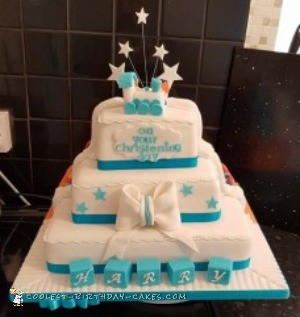 half and half birthday christening cake
