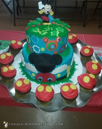 Stupendous Cute Homemade Mickey Mouse Cake And Cupcakes Personalised Birthday Cards Veneteletsinfo