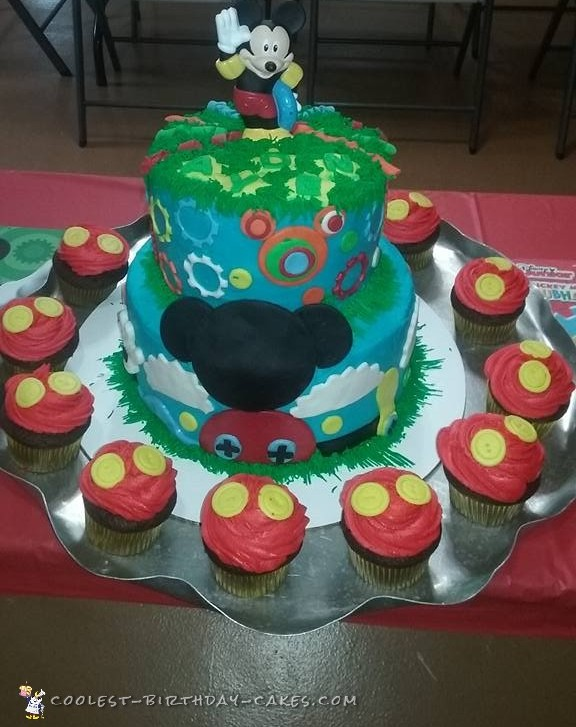 Cute Homemade Mickey Mouse Cake And Cupcakes