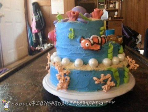 Pleasant Adorable 2 Tiered Homemade Nemo Cake For My Daughter Funny Birthday Cards Online Alyptdamsfinfo