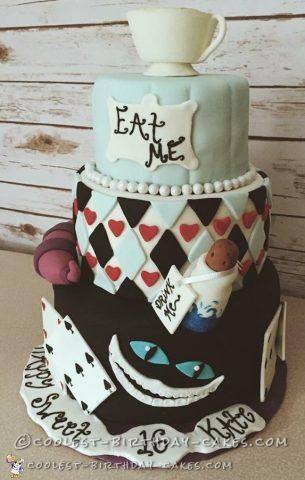 homemade alice in wonderland cake