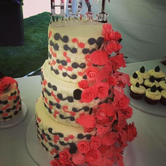 My first homemade three tiered wedding cake!