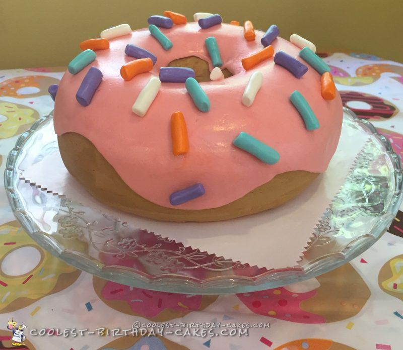 Awesome Homemade Jumbo Donut Cake For A Birthday