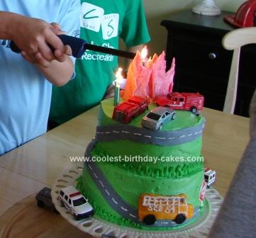 Coolest Firefighter Theme Birthday Cake