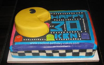 Sensational Cool Homemade Pac Man Birthday Cake Funny Birthday Cards Online Alyptdamsfinfo