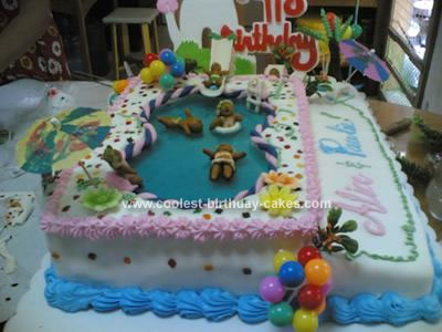 Prime Cool Homemade Swimming Pool Party Cake Funny Birthday Cards Online Inifodamsfinfo