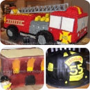 Fire Trucks and Firefighter Theme Birthday Cakes
