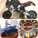 Motorcycles and Harley Davidson Emblems Birthday Cakes