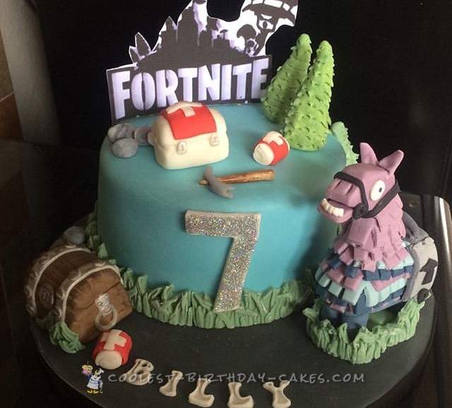 Super Coolest Fortnite Birthday Cake Funny Birthday Cards Online Fluifree Goldxyz