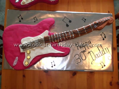 This Is A Life Size Fender Strat Guitar Cake I Used 15x15 Square Sponge With Jam And Cream Made Template From The Cut Out Shape